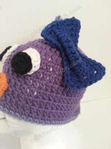 Rochelle's Pretty Purple Chick Beanie Hat Crochet Pattern Left Profile