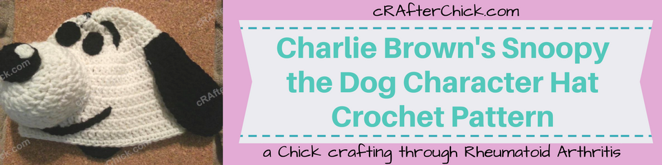 Charlie Brown's Snoopy the Dog Character Hat Crochet Pattern_ a chick crafting through Rheumatoid Arthritis cRAfterChick.com