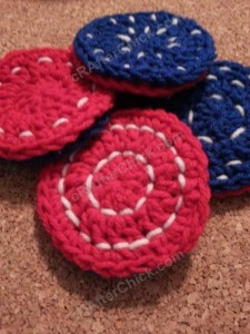 Reversible Coasters with Contrast Stitching Crochet Pattern
