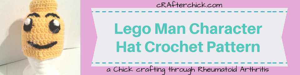 Lego Man Character Hat Crochet Pattern_ a chick crafting through Rheumatoid Arthritis cRAfterChick.com