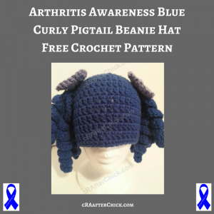Arthritis Awareness Blue Curly Pigtail Beanie Hat Free Crochet Pattern