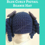 Arthritis Awareness Blue Curly Pigtail Beanie Hat Crochet Pattern