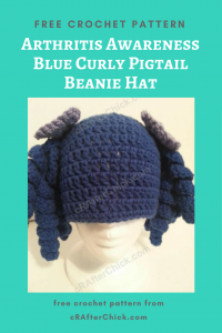 Arthritis Awareness Blue Curly Pigtail Beanie Hat Free Crochet Pattern long