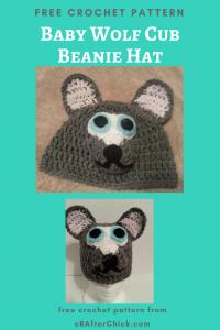 Baby Wolf Cub Beanie Hat Free Crochet Pattern