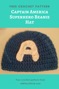 Captain America Superhero Beanie Hat Free Crochet Pattern