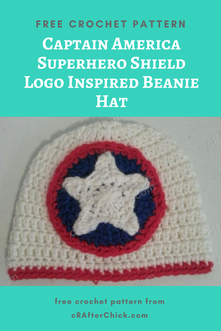 Captain America Superhero Shield Logo Inspired Beanie Hat Free Crochet  Pattern 106d97a5f32