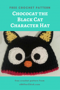 Chococat the Black Cat Character Hat Free Crochet Pattern