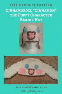 "Cinnamoroll ""Cinnamon"" the Puppy Character Beanie Hat Free Crochet Pattern"