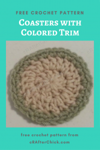 Coasters with Colored Trim Free Crochet Pattern
