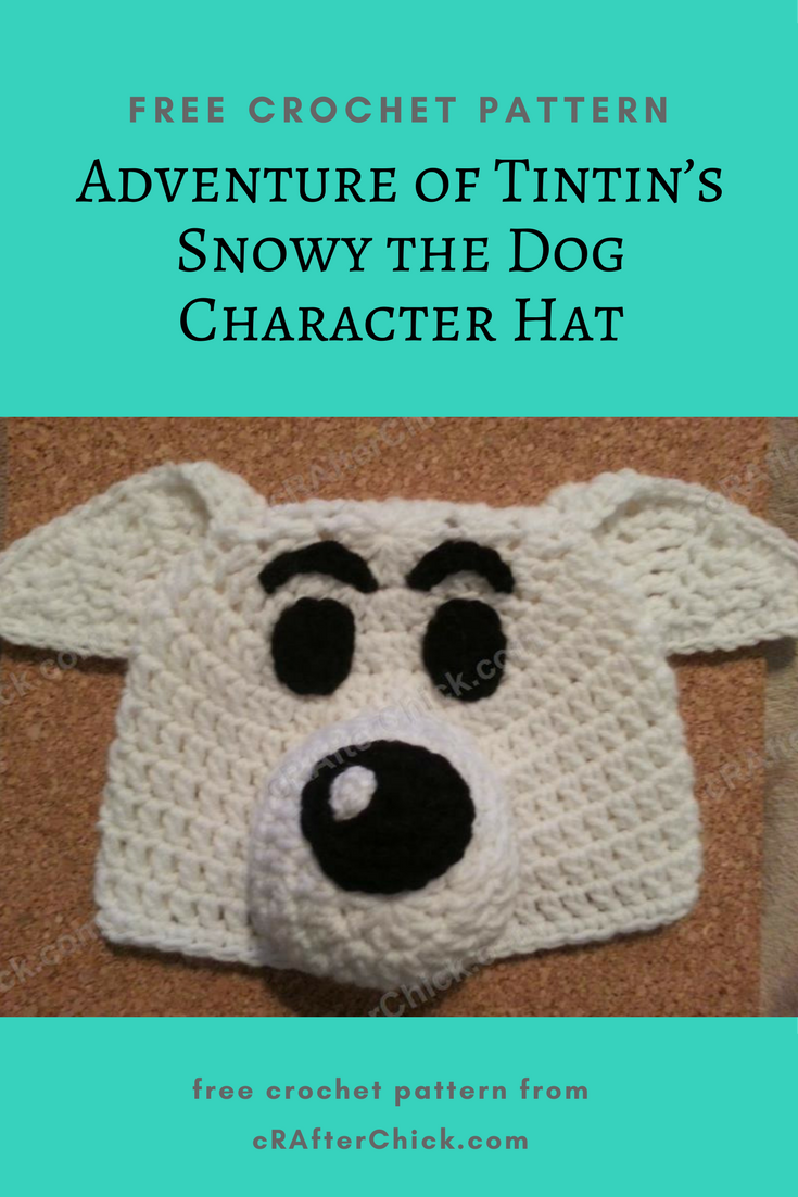 Adventure of Tintin\'s Snowy the Dog Character Hat Crochet Pattern ...