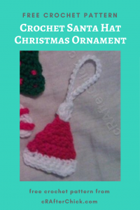 Crochet Santa Hat Christmas Ornament Free Crochet Pattern