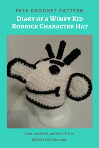Diary of a Wimpy Kid Rodrick Character Hat Free Crochet Pattern