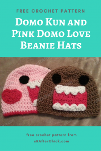 Domo Kun and Pink Domo Love Beanie Hats Free Crochet Pattern