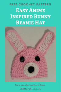 Easy Anime Inspired Bunny Beanie Hat Free Crochet Pattern