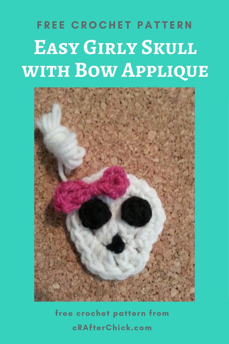 Easy Girly Skull With Bow Applique Crochet Pattern Crafterchick