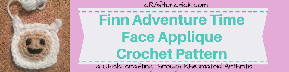 Finn Adventure Time Face Applique Crochet Pattern_ a chick crafting through Rheumatoid Arthritis cRAfterChick.com