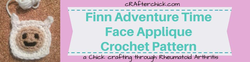 Finn Adventure Time Face Applique Crochet Pattern_ a chick crafting through Rheumatoid Arthritis cRAfterChick.com