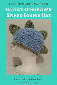 Gavin's DinoRAWR Spiked Beanie Hat Free Crochet Pattern