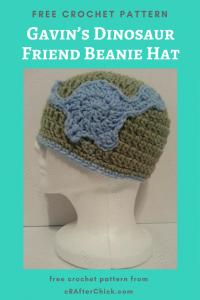 Gavin's Dinosaur Friend Beanie Hat Free Crochet Pattern