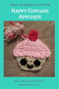 Happy Cupcake Applique Free Crochet Pattern