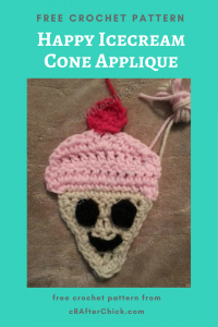 Happy Icecream Cone Applique Free Crochet Pattern
