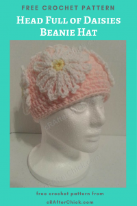 Head Full of Daisies Beanie Hat Free Crochet Pattern