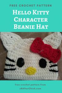 Hello Kitty Character Beanie Hat Free Crochet Pattern