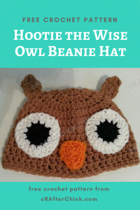 Hootie the Wise Owl Beanie Hat Free Crochet Pattern