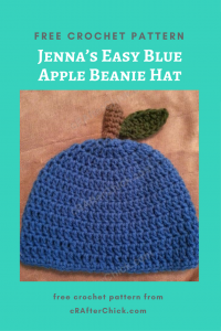Jenna's Easy Blue Apple Beanie Hat Free Crochet Pattern