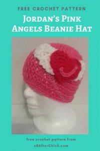 Jordan's Pink Angels Beanie Hat Free Crochet Pattern