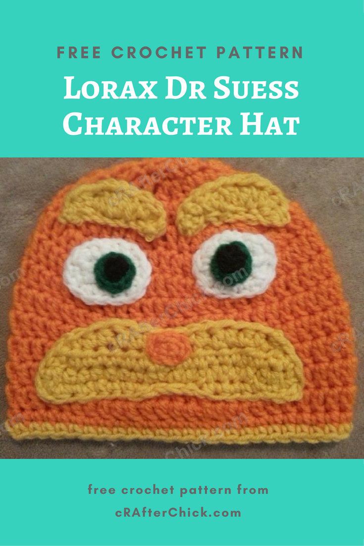 Lorax Dr Suess Character Hat Crochet Pattern » cRAfterchick - Free ... 52a5c282a95