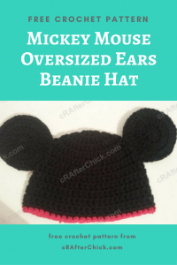 Mickey Mouse Oversized Ears Beanie Hat Free Crochet Pattern
