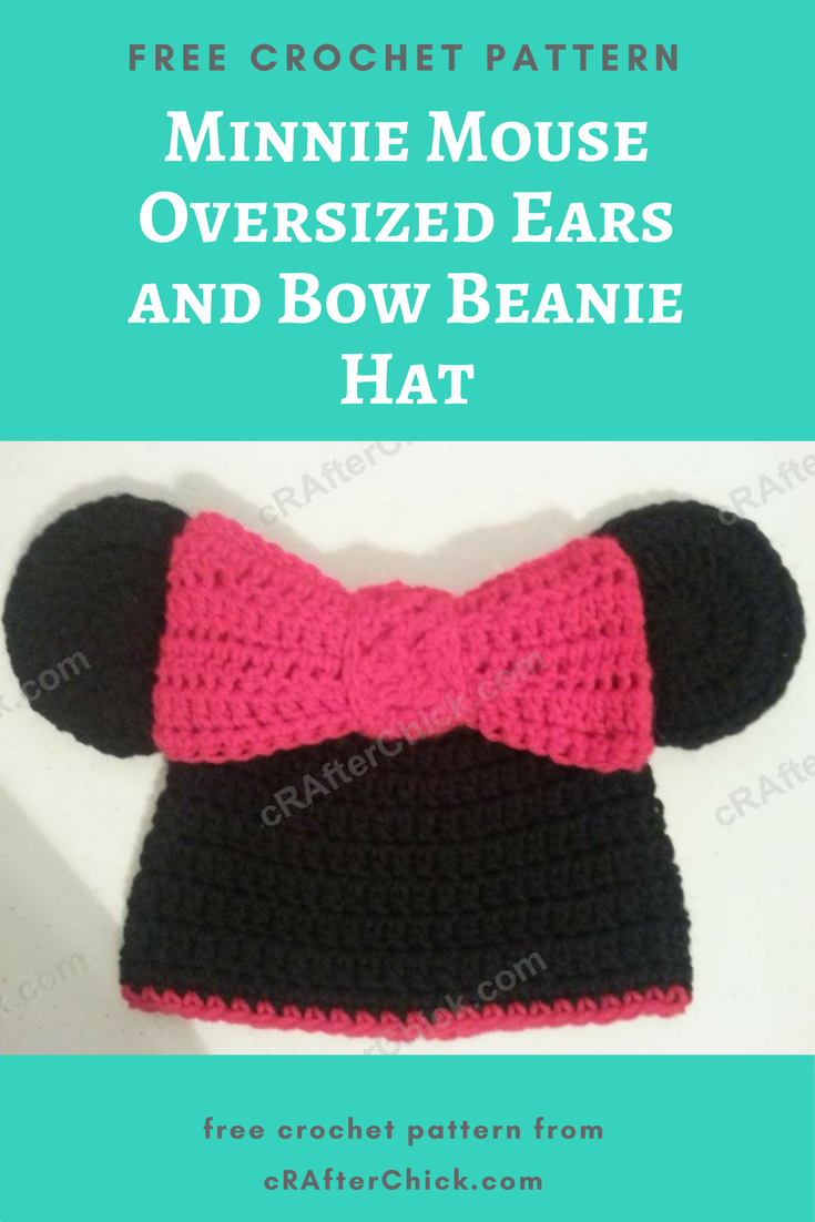 Minnie Mouse Oversized Ears and Bow Beanie Hat Crochet Pattern ...