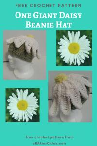 One Giant Daisy Beanie Hat Free Crochet Pattern