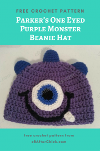 Parker's One Eyed Purple Monster Beanie Hat Free Crochet Pattern