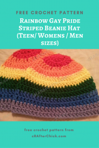 Rainbow Gay Pride Striped Beanie Hat Free Crochet Pattern for Teen Womens Men sizes