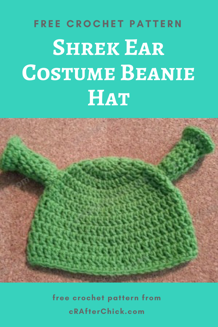 Shrek Ear Costume Beanie Hat Crochet Pattern » cRAfterchick - Free ... 08f4bfcf46b