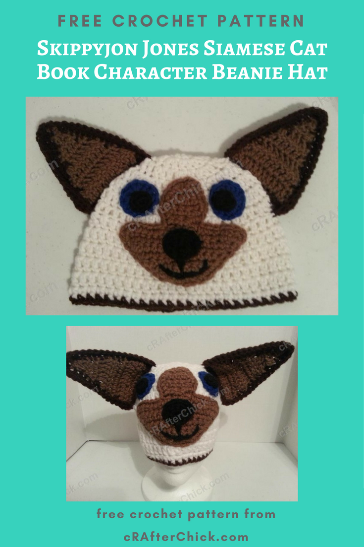 Skippyjon Jones Siamese Cat Book Character Beanie Hat Crochet ...