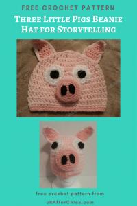 Three Little Pigs Beanie Hat Free Crochet Pattern for Storytelling