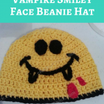 Vampire Smiley Face Beanie Hat Crochet Pattern