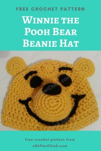 Winnie the Pooh Bear Beanie Hat Free Crochet Pattern