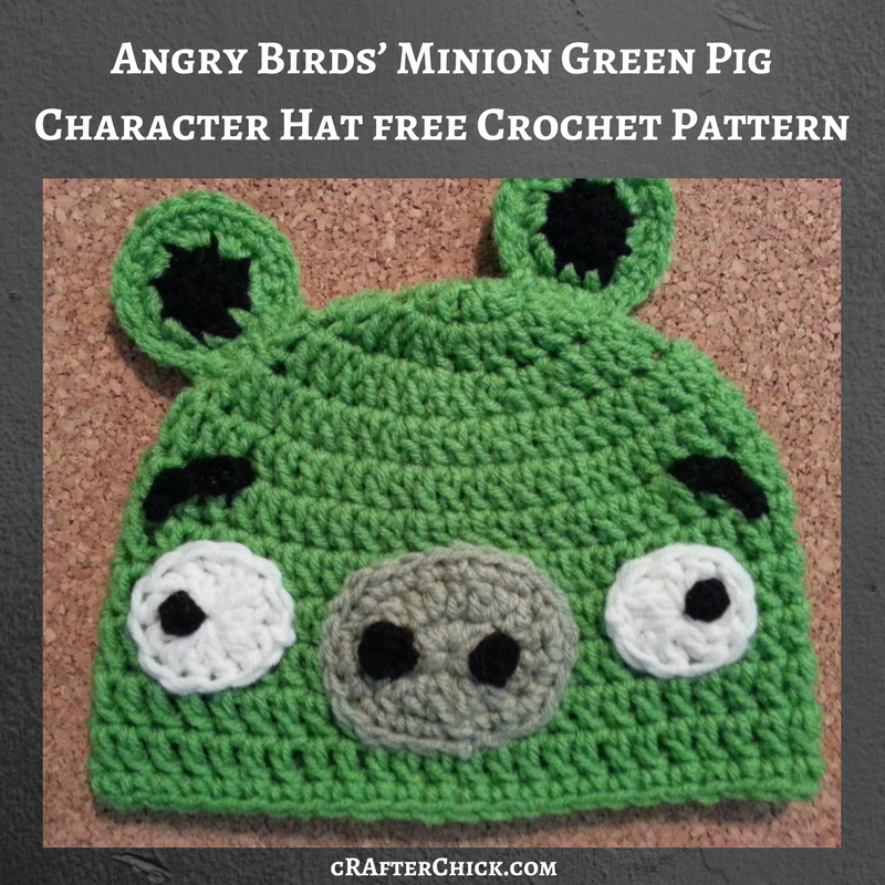Angry Birds Minion Green Pig Character Hat Crochet Pattern