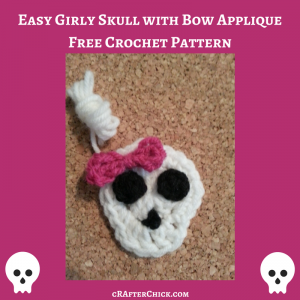 Easy Girly Skull with Bow Applique Free Crochet Pattern