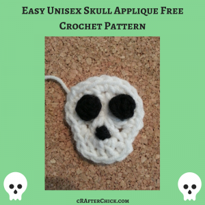 Easy Unisex Skull Applique Free Crochet Pattern