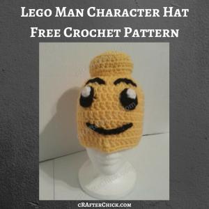 Lego Man Character Hat Free Crochet Pattern