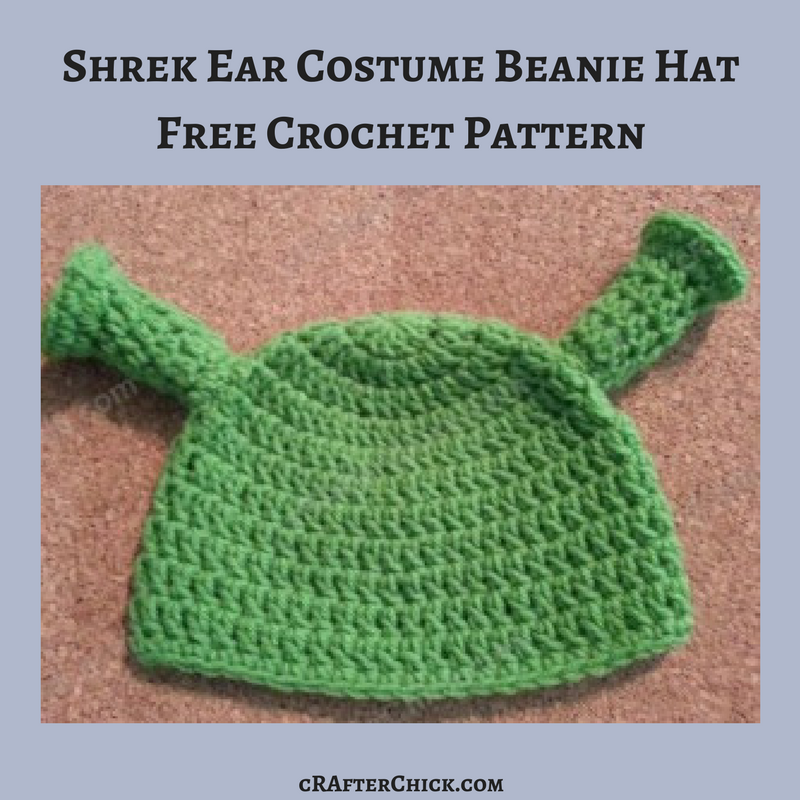 Shrek Ear Costume Beanie Hat Crochet Pattern Crafterchick Free