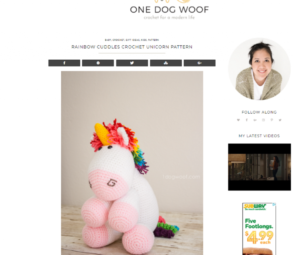 Rainbow Cuddles Crochet Unicorn Pattern One Dog Woof
