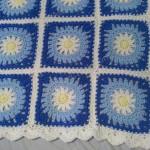 Blue Daisy Square Crochet Blanket Project