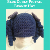 Arthritis Awareness Blue Curly Pigtail Beanie Hat Free Crochet Pattern long