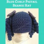 Arthritis Awareness Blue Curly Pigtail Beanie Hat Crochet Pattern